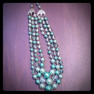 VTG 60s Green Bead Triple Strand Japan Necklace